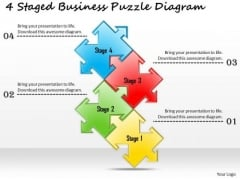Business Strategy 4 Staged Puzzle Diagram Strategic Plan Outline Template