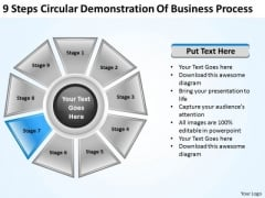 Business Strategy 9 Steps Circular Demonstration Of Process Sales Concepts