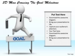 Business Strategy And Policy 3d Man Crossing The Goal Milestone Concept