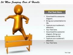 Business Strategy And Policy 3d Man Jumping Over Hurdle Concepts