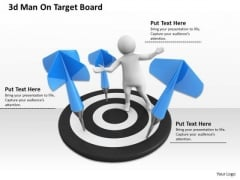 Business Strategy And Policy 3d Man On Target Board Concept