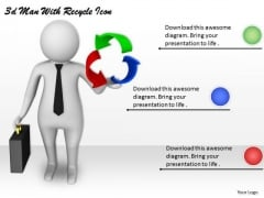 Business Strategy And Policy 3d Man With Recycle Icon Characters