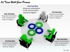 Business Strategy And Policy 3d Team With Gear Process Concept