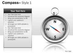 Business Strategy Compass 1 PowerPoint Slides And Ppt Diagram Templates