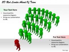 Business Strategy Concepts 3d Red Leader Ahead Of Team Character