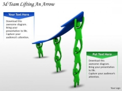 Business Strategy Concepts 3d Team Lifting An Arrow Basic