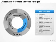 Business Strategy Concepts Concentric Circular Process 3 Stages Unit