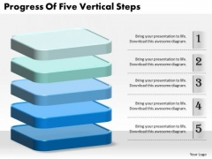 Business Strategy Concepts Progress Of Five Vertical Steps Strategic Planning Ppt Slide