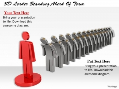 Business Strategy Consultant 3d Leader Standing Ahead Of Team Character Modeling