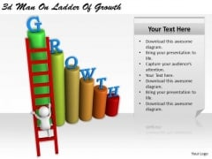 Business Strategy Consultant 3d Man Ladder Of Growth Concept