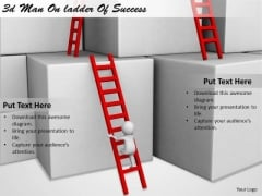 Business Strategy Consultant 3d Man Ladder Of Success Concept