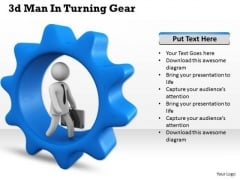 Business Strategy Consultants 3d Man Turning Gear Concept Statement