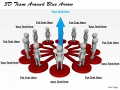 Business Strategy Consulting 3d Team Around Blue Arrow Character Models