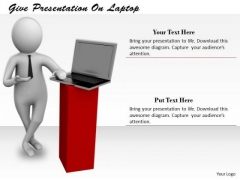 Business Strategy Consulting Give Presentation Laptop 3d Character Models