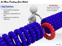 Business Strategy Development 3d Man Pushing Gear Wheel Concepts