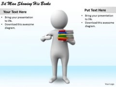 Business Strategy Development 3d Man Showing His Books Character Models