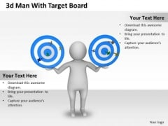 Business Strategy Development 3d Man With Target Board Character