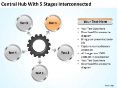 Business Strategy Development Central Hub With 5 Stages Iterconnected Unit