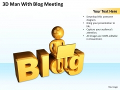 Business Strategy Diagram 3d Man With Blog Meeting PowerPoint Slides