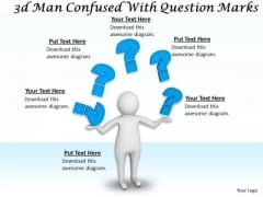 Business Strategy Examples 3d Man Confused With Question Marks Concepts
