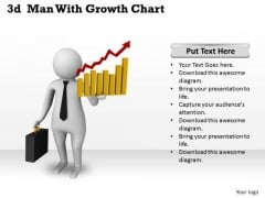 Business Strategy Examples 3d Man With Growth Chart Concepts
