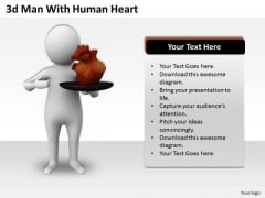 Business Strategy Examples 3d Man With Human Heart Concepts