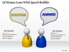 Business Strategy Execution 3d Human Icons With Speech Bubbles Character Models
