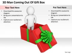 Business Strategy Execution 3d Man Coming Out Of Gift Box Adaptable Concepts