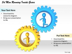 Business Strategy Execution 3d Men Running Inside Gears Concept