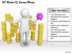 Business Strategy Execution 3d Render Of Saving Money Character Models