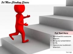 Business Strategy Formulation 3d Man Climbing Stairs Character Modeling