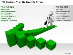 Business Strategy Formulation 3d Man Growth Arrow Concept Statement