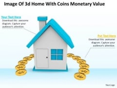 Business Strategy Image Of 3d Home With Coins Monetary Value