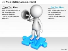 Business Strategy Implementation 3d Man Making Announcement Characters
