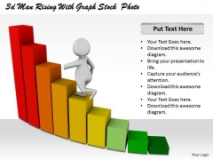 Business Strategy Implementation 3d Man Rising With Graph Concept