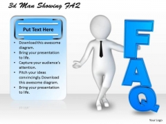 Business Strategy Implementation 3d Man Showing Faq Concept
