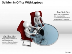 Business Strategy Implementation 3d Office With Laptops Concept