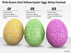 Business Strategy Implementation Pink Green And Yellow Easter Eggs Shiny Festival Images