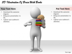Business Strategy Innovation 3d Illustration Of Brain With Books Basic Concepts