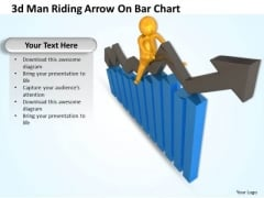 Business Strategy Innovation 3d Man Riding Arrow Bar Chart Adaptable Concepts