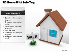 Business Strategy Model 3d House With Sale Tag Stock Images