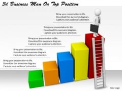 Business Strategy Model 3d Man On Top Position Basic Concepts