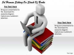 Business Strategy Plan 3d Human Sitting On Stack Of Books Character Modeling