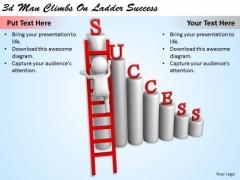 Business Strategy Plan 3d Man Climbs On Ladder Success Character