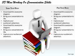 Business Strategy Plan 3d Man Working On Communication Skills Concept Statement