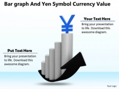 Business Strategy Plan Bar Graph And Yen Symbol Currency Value Clipart