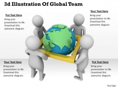 Business Strategy Plan Template 3d Illustration Of Global Team Character Models