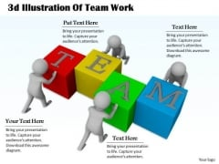 Business Strategy Plan Template 3d Illustration Of Team Work Character Models