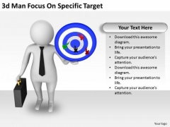 Business Strategy Plan Template 3d Man Focus On Specific Target Concept Statement