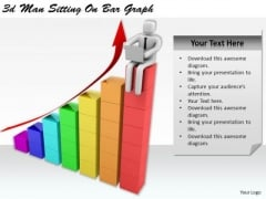 Business Strategy Plan Template 3d Man Sitting On Bar Graph Basic Concepts